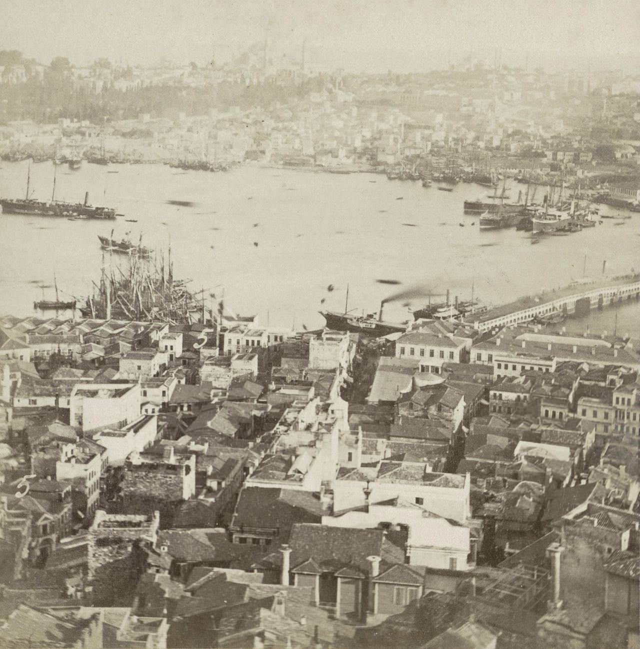 Galata Kulesi'nden Karaköy Sophus Williams & E. Linde & Co. 1860 - 1890